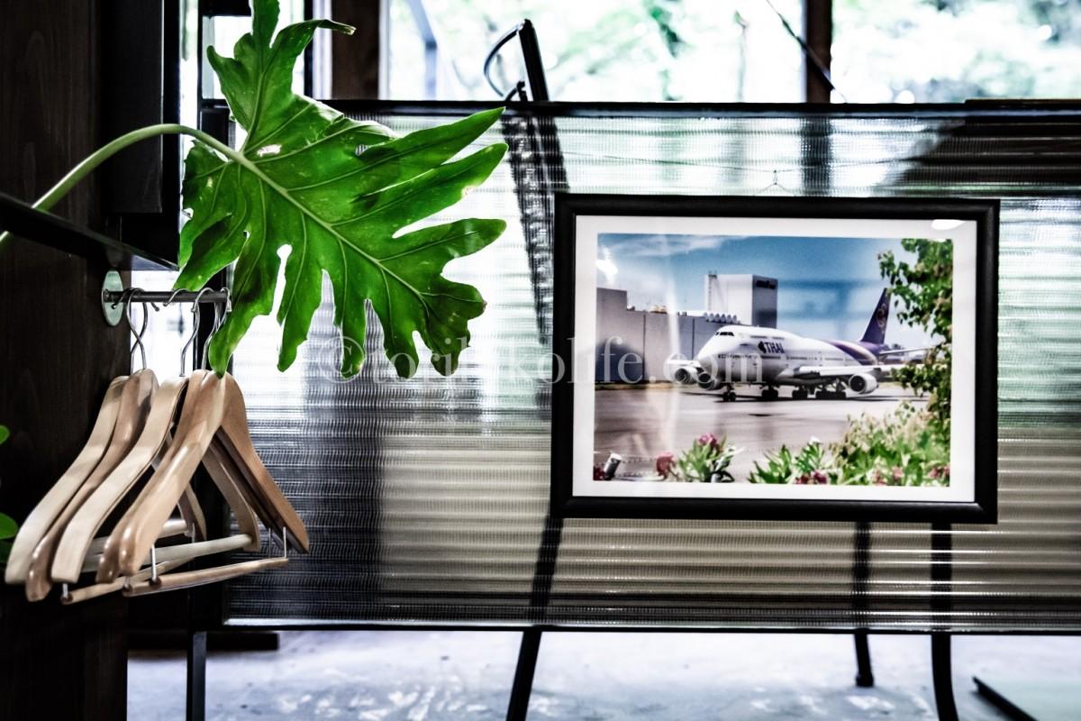 安南店内に飾られた大きな飛行機の写真
