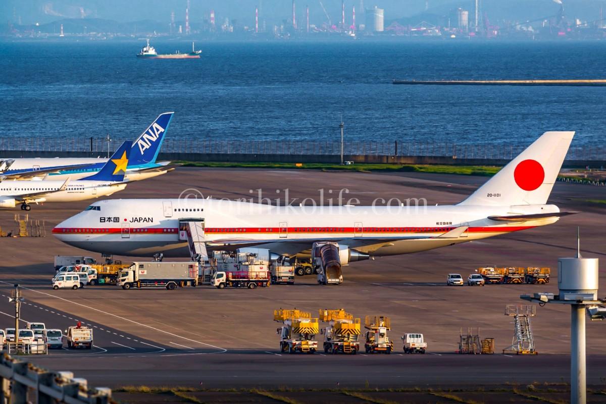 JALの格納庫前に駐機する政府専用機