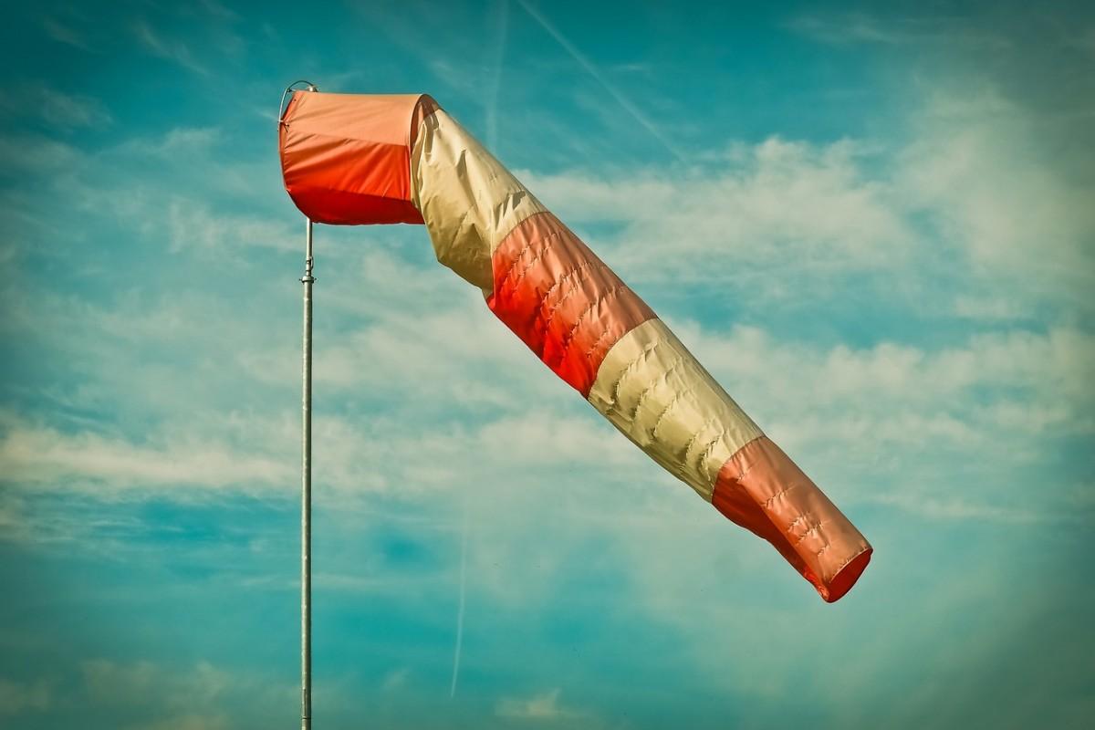風を受けてなびく吹き流し