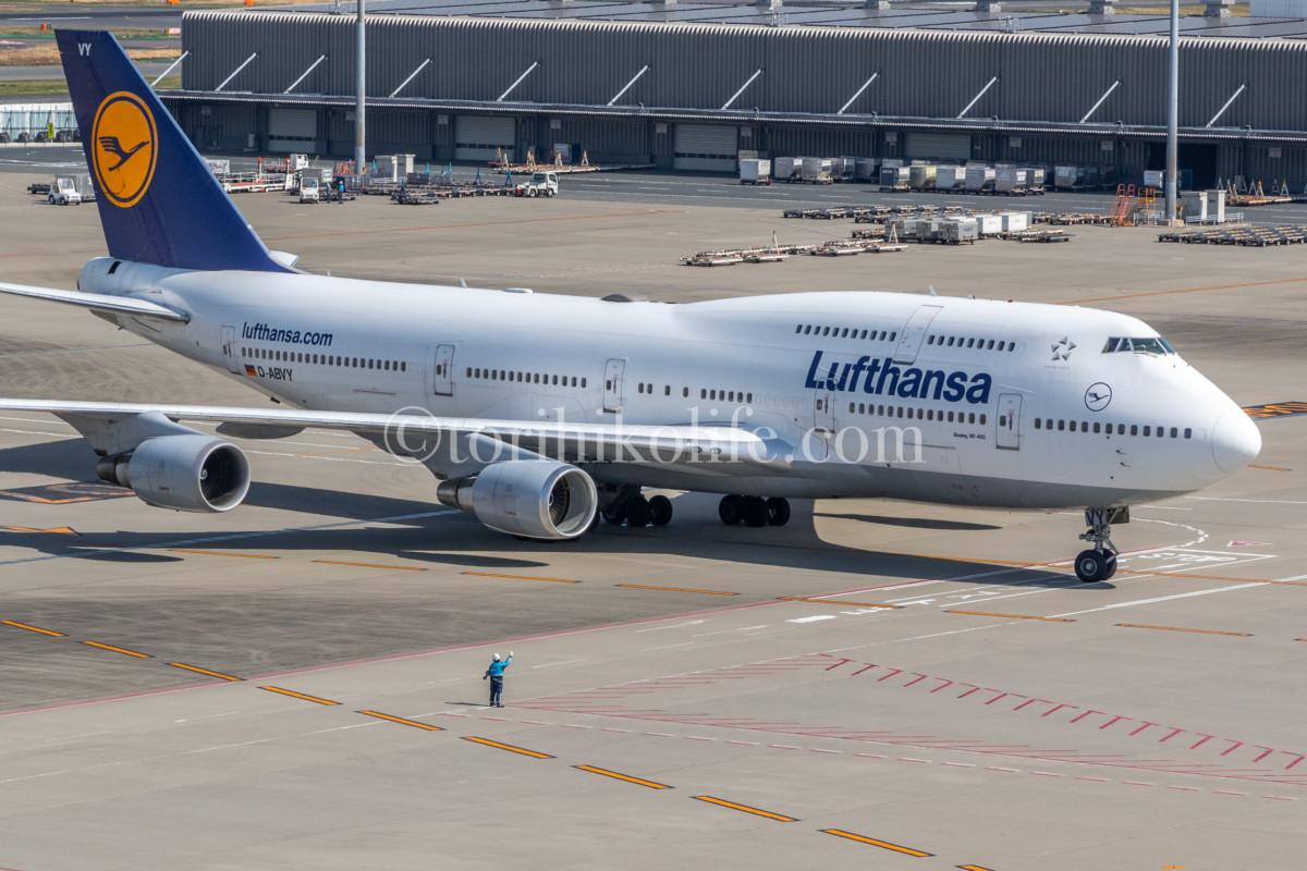 羽田空港では珍しい、ルフトハンザの747-400