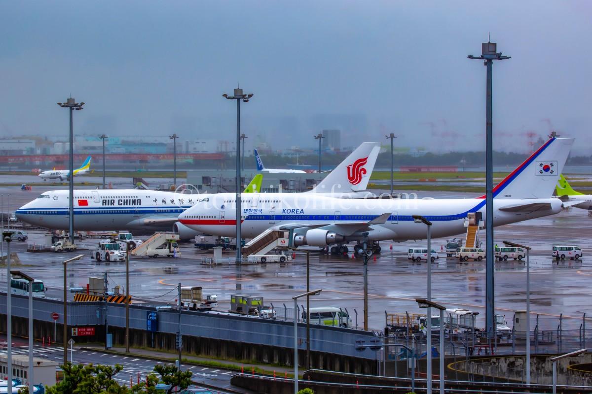 雨の中並ぶ中国と韓国の政府専用機