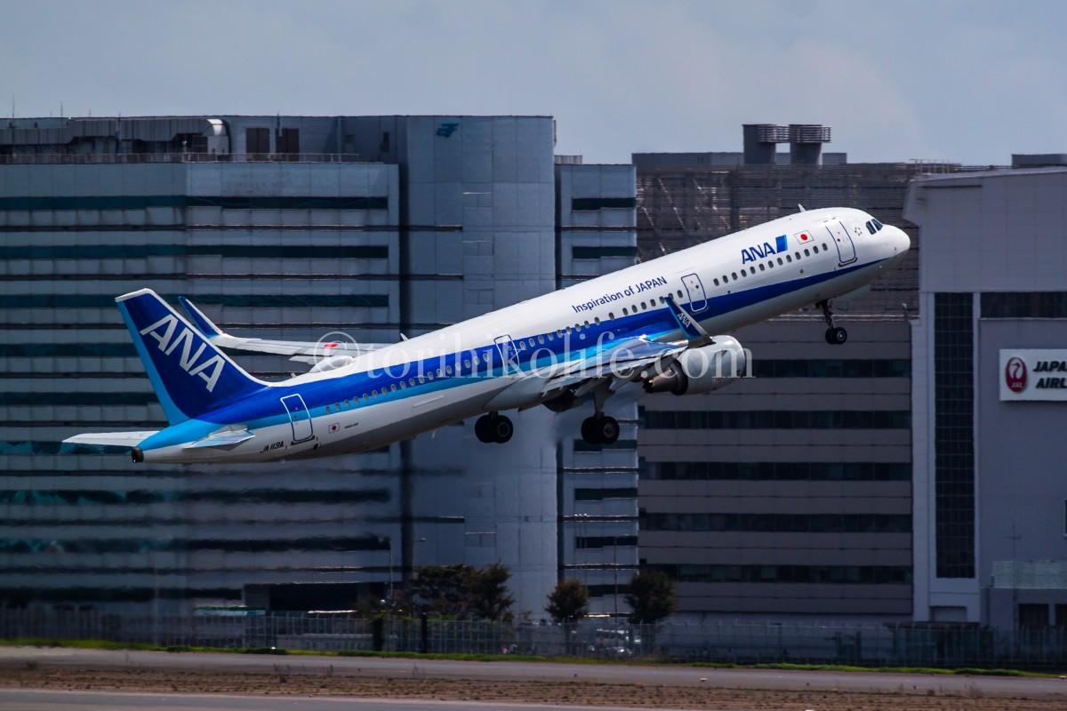 16Rを離陸するANA機