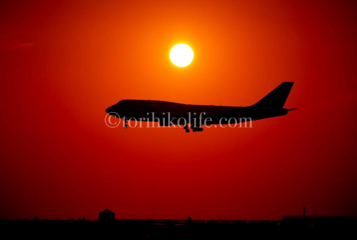 朝焼けをバックに34Rに着陸するカンタスジャンボ