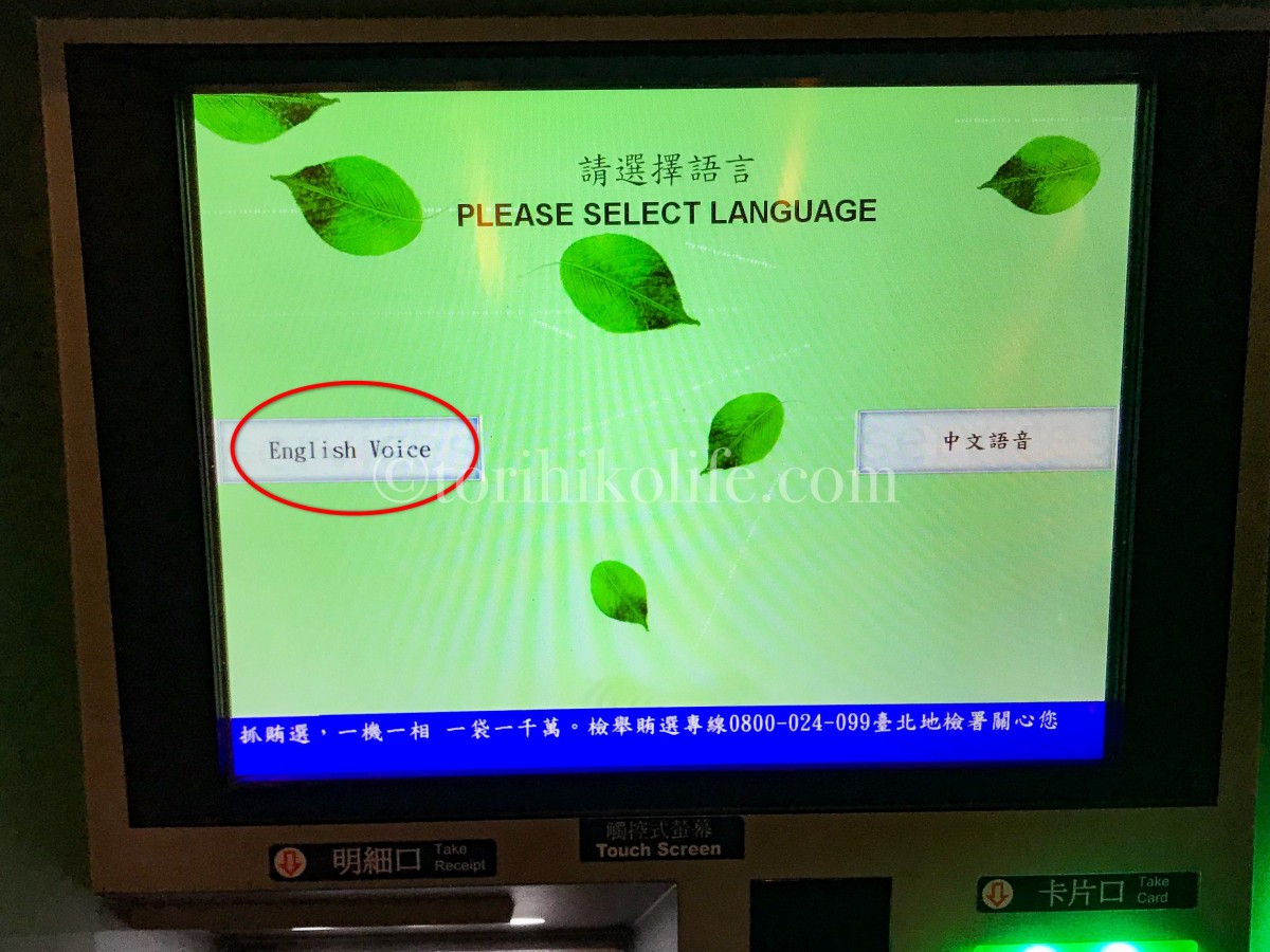 音声言語選択画面。English Voiceを選択