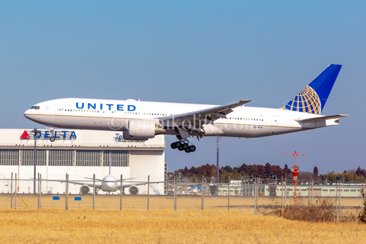 34Lへ着陸するユナイテッドのスポッティングカット