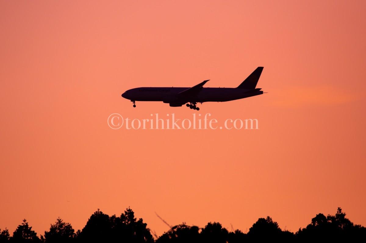 東雲の丘から撮影した成田に着陸する飛行機のシルエット