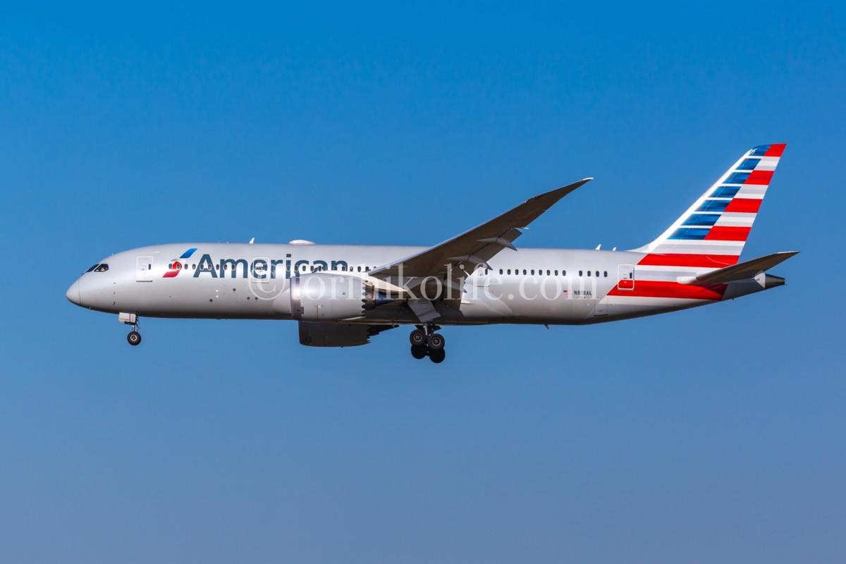 アメリカン航空787のスポッティングカット