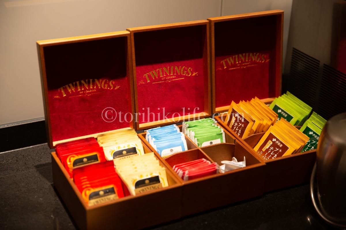 ラウンジで提供されている紅茶。銘柄はTWINING