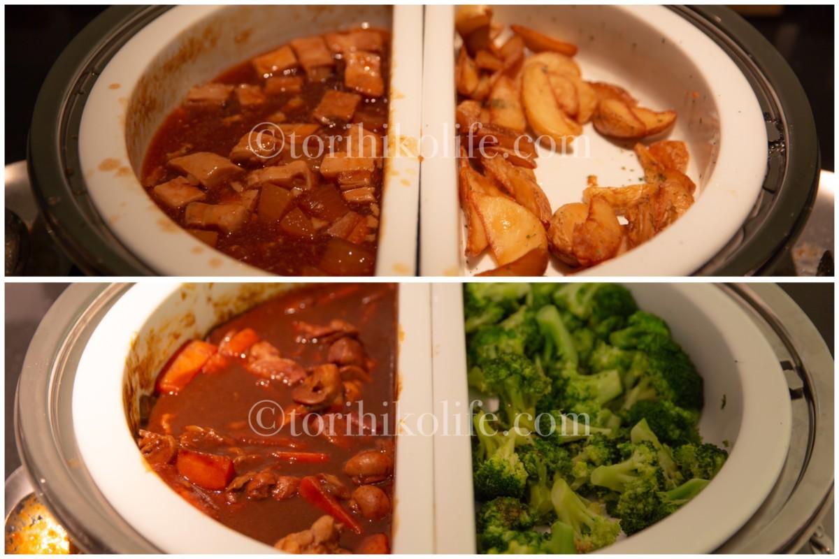 キャセイパシフィックラウンジで提供されているホットミールの食事メニュー(麻婆豆腐・フライドポテト・カレー・温野菜)