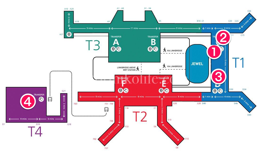 チャンギ国際空港にあるワンワールドラウンジの場所を示した地図
