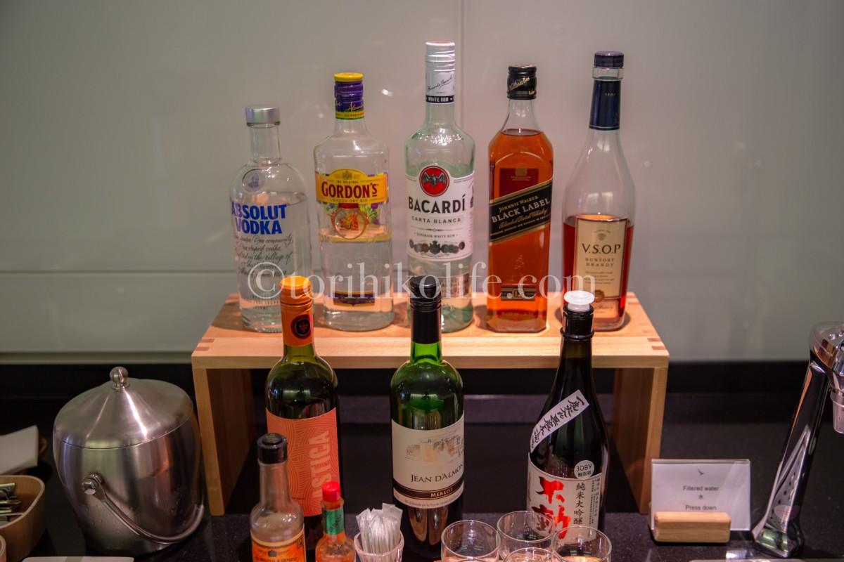 ラウンジで提供されているアルコール類