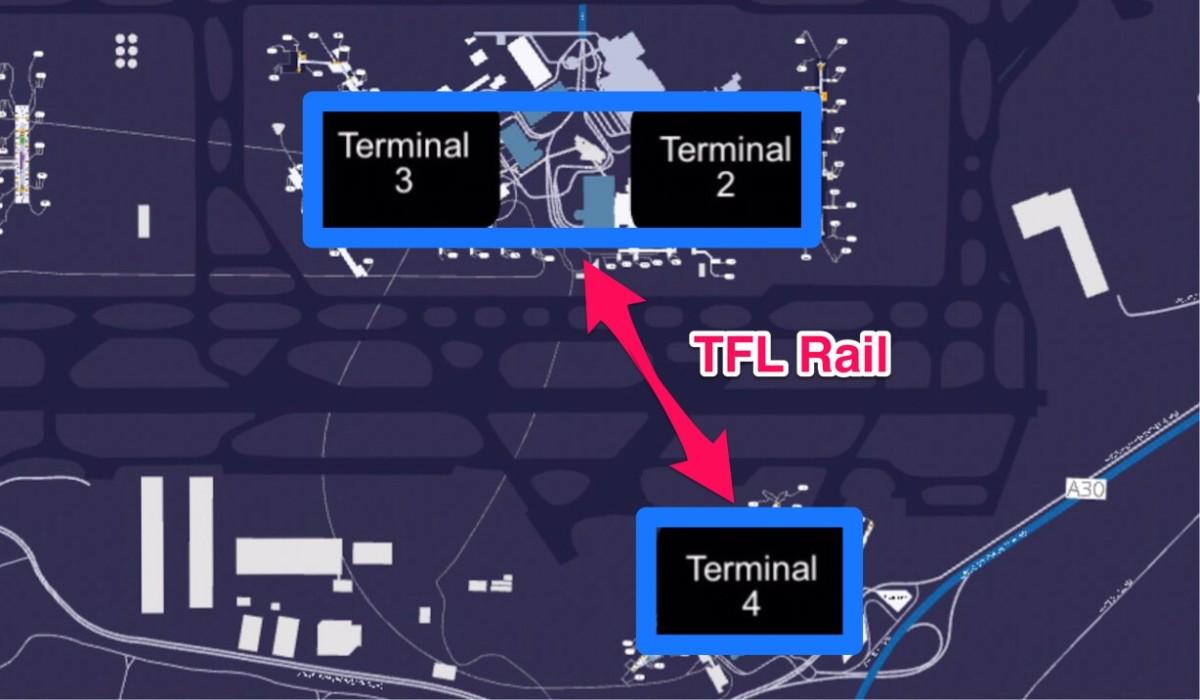 ヒースロー空港第2・3ターミナルと第4ターミナル間の移動方法を示した地図