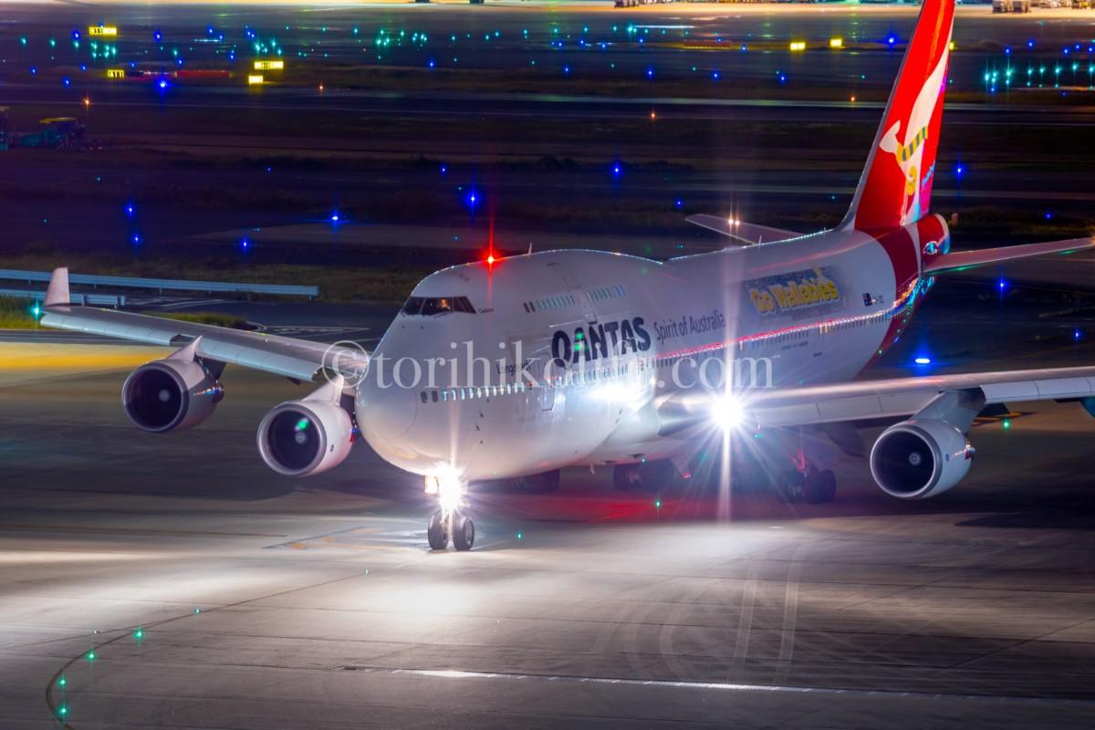 羽田空港国際線ターミナル展望デッキで撮影したカンタス航空のワラビーズ特別塗装機