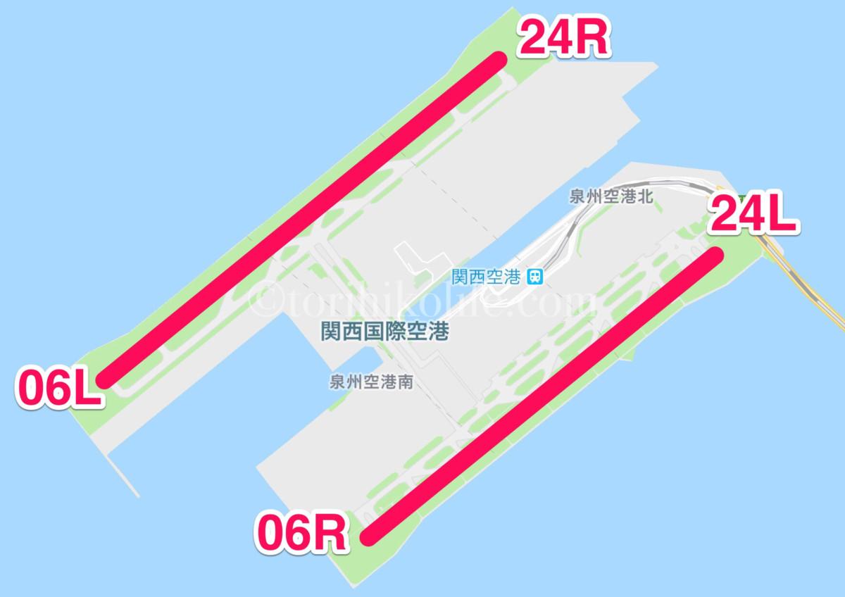 関西空港の滑走路の位置、方向を示した図