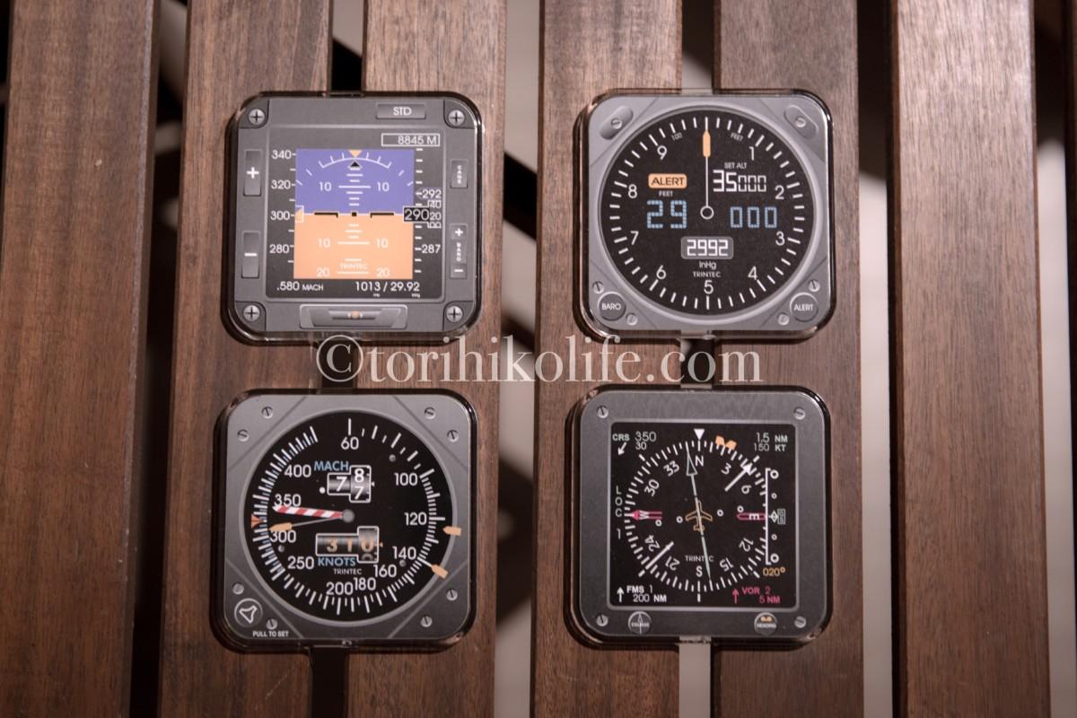 飛行機の計器をイメージした、トリンティックのスクエアコースターセット(モダン)