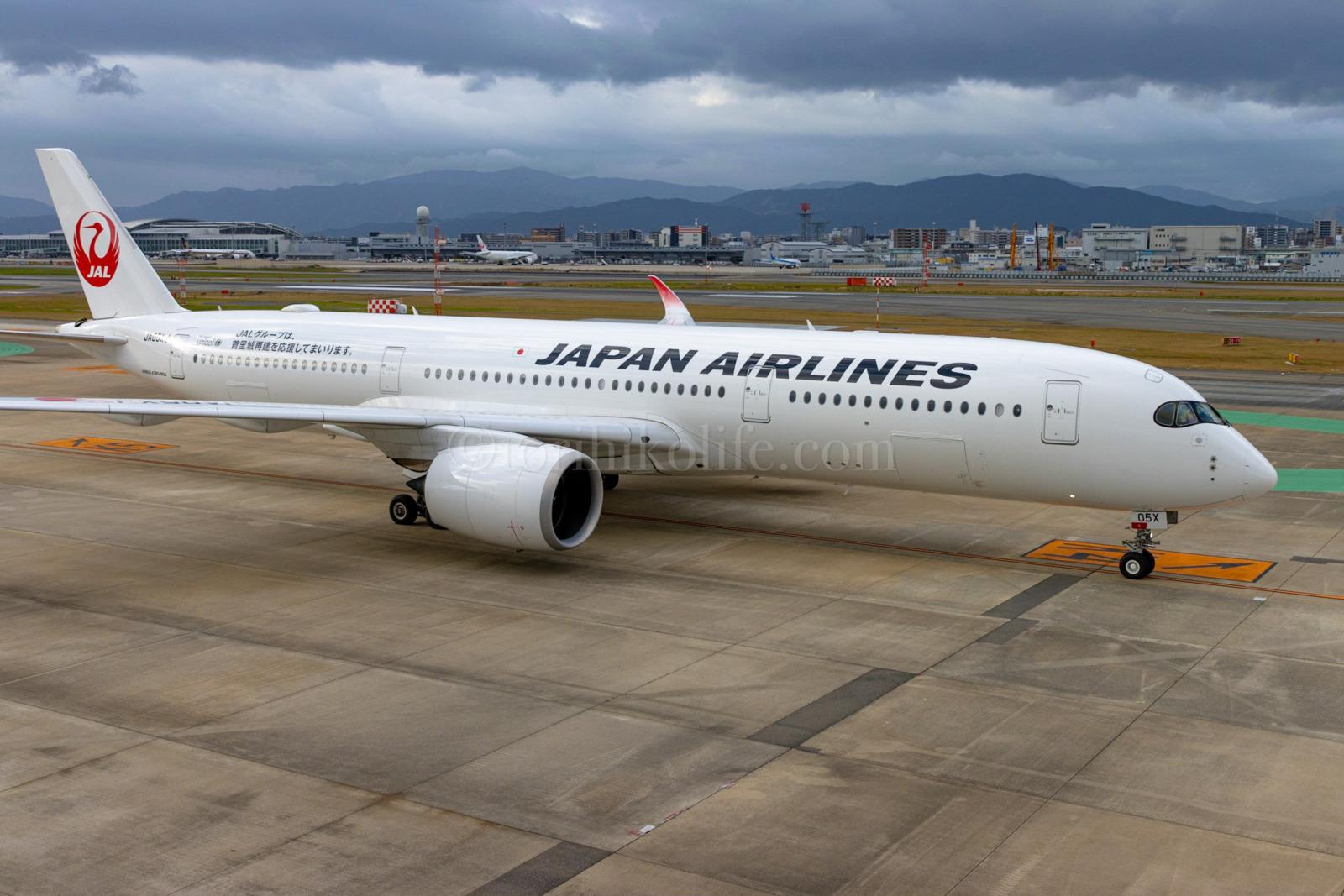 福岡空港国内線展望デッキから撮影したJALのA350