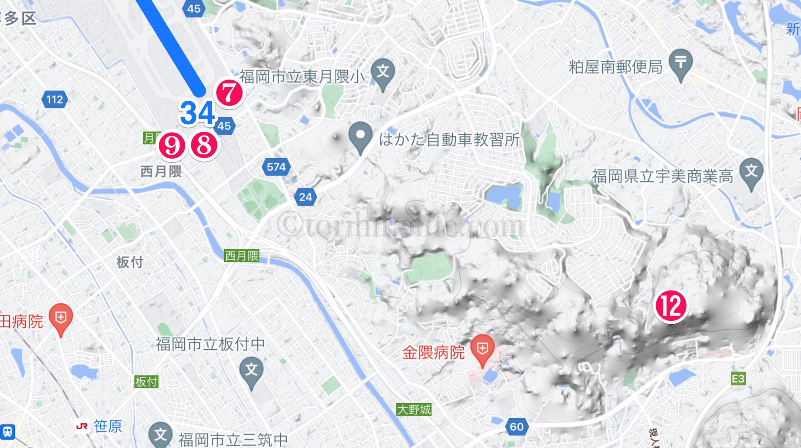福岡空港撮影スポット地図